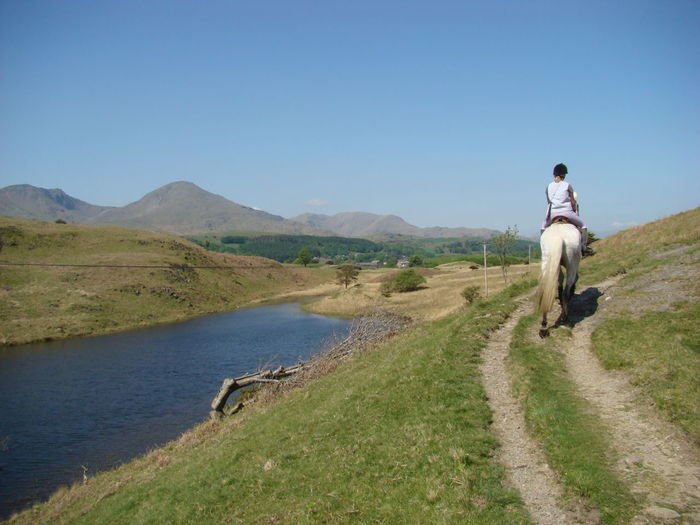 Rear View Of Woman Riding Horse On Hill By River Against Clear Sky