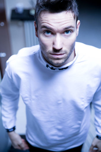 Blue Cold EyeEm Best Shots Eyes Indoors  Looking At Camera Looking Up Man Model Modelling Soul White White Color Winter
