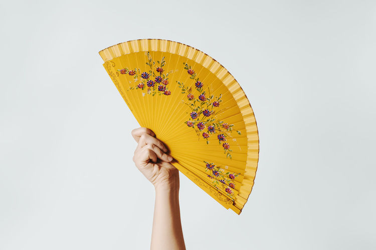 Close-up of woman holding umbrella against white background