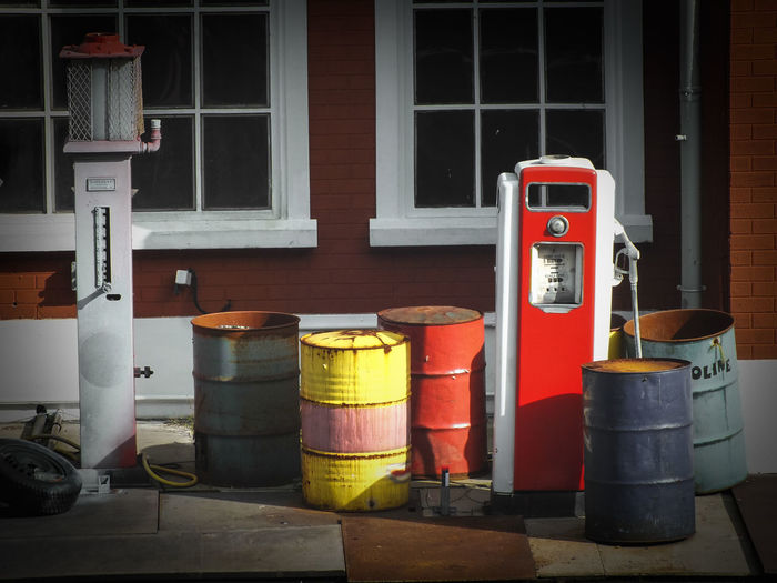 Old Gasoline Barrel Barrels Collection Colorful Gasoline Group Of Objects In A Row Large Group Of Objects Multi Colored Order Outdoors Petrol Pump Red Refuel Retail  Tankstelle Tonne Wheel Window Windows