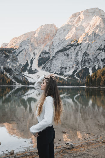 Breathe Lake View Lake Model One Person Mountain Water Long Hair Standing Beauty In Nature Hair Real People Young Adult Scenics - Nature Young Women Hairstyle Mountain Range Leisure Activity Three Quarter Length Lifestyles Nature Outdoors Human Arm Beautiful Woman