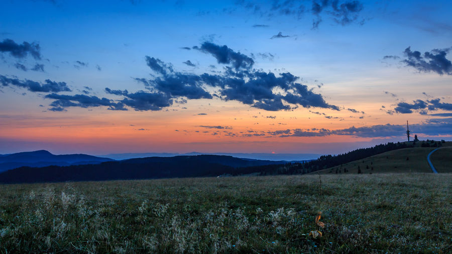 Sonnenuntergang auf dem Feldberg, fotografiert im August 2017 Beauty In Nature Cloud - Sky Day Field Grass Growth Landscape Mountain Nature No People Outdoors Scenics Sky Sunset Tranquil Scene Tranquility Tree