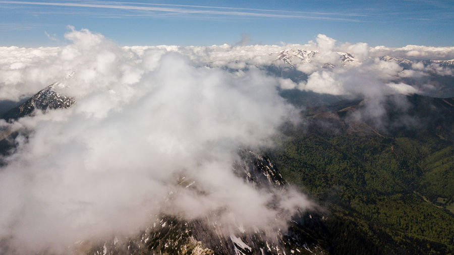 Aerial view of mountain against sky