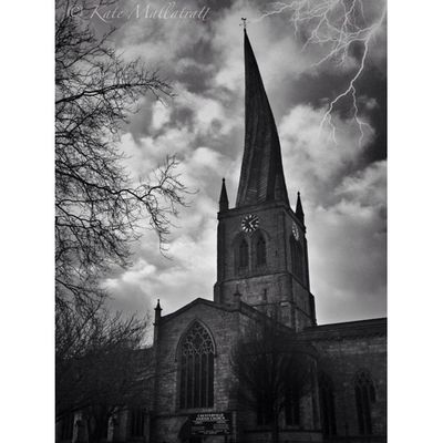Squaready Chesterfield Church Photooftheday Photo365 K8marieuk Igers IGDaily Spire  Derbyshire Instagrammers Spooky Snapseed AlienSky Blacknwhite Architecture Religious  HDR Moody Creepy Lightning Bnw Iphoneonly