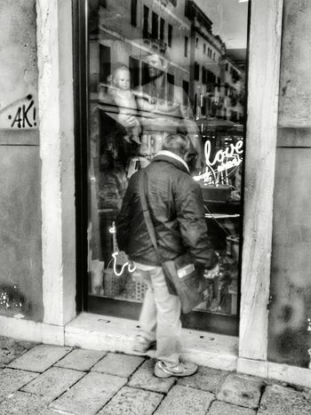 RePicture Masculinity Rear View Black And White Streetphotography Old Boutique Mannequins Mannequin Attack! Man Shopping PhonePhotography Phoneography