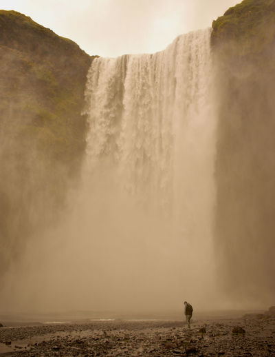 Iceland Skogafoss Skogafoss Falls, Iceland Skogafoss Waterfall Nature Silent Moment Silence Of Nature Water Hot Spring Fog Waterfall Adventure