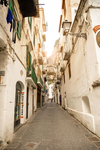 Italy Amalfi  Amalfi Coast Architecture Built Structure Direction The Way Forward Building Exterior Building Diminishing Perspective City Residential District Narrow Day Street Alley Incidental People vanishing point Outdoors Footpath Town Nature Long