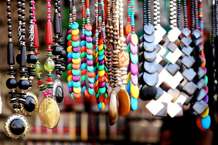 Multi colored jewelries for sale in market