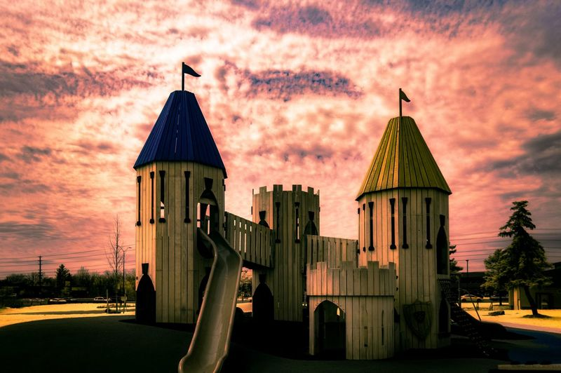 Children's Play Castle @ Paul Coffey Park [IR+UV] Architecture Castle Check This Out Exceptional Photographs EyeEm Best Shots Hanging Out Hello World Nature Relaxing Taking Photos Tree Beauty In Nature Building Exterior Built Structure Cloud - Sky Day Enjoying Life Eye4photography  First Eyeem Photo Landscape No People Outdoors Sky Skyporn Sunset