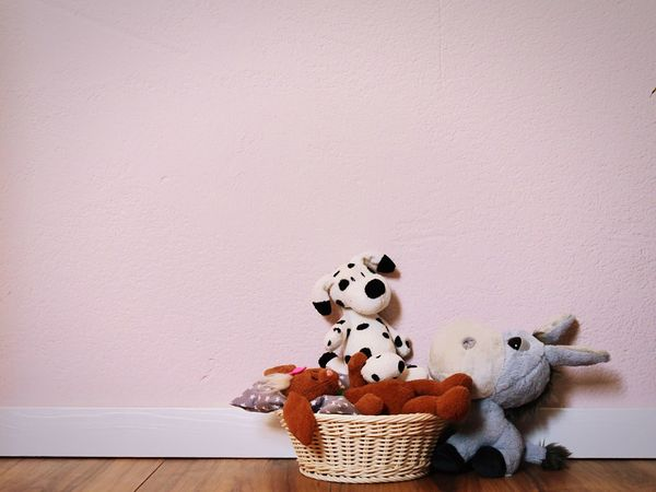 Toy Stuffed Toy Indoors  Still Life Teddy Bear No People Childhood Day Seeling Playroom Dog Rabbit Esel Basket Colors