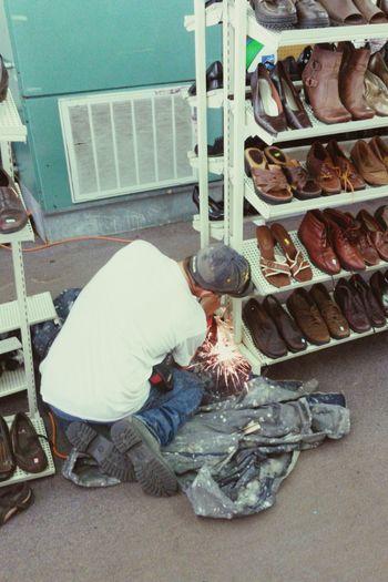 Repairing Filing Shoes Rack Metal Sparks Sparks Fly