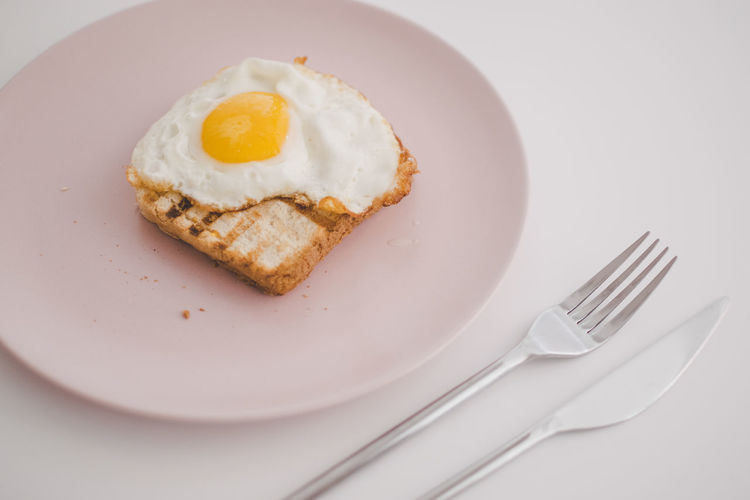 High Angle View Of Fried Egg With Toasted Bread In Plate