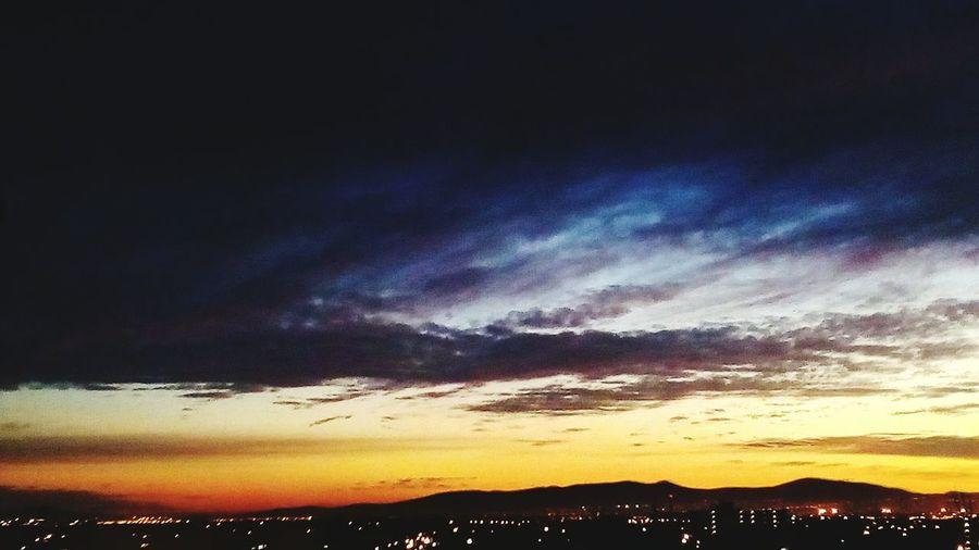 City Lights Sunrise Mountain Silhouette Dramatic Sky Sky Landscape Cloud - Sky