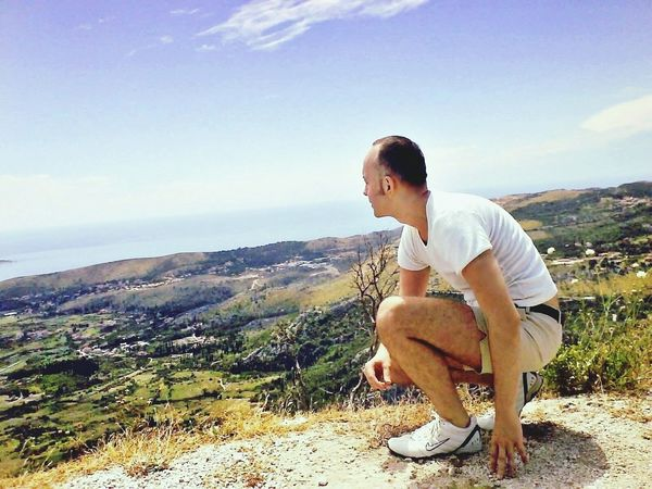 Man on mountain One Man Only Outdoors View From Mountain Sea Sky Adriatic Sea Beauty In Nature Nature Man On Mountain Adventure Lifestyle Summertime Travel Outdoor Sport Nike Summersky Outdoor Photography One Person Beautiful Nature Enjoying The View