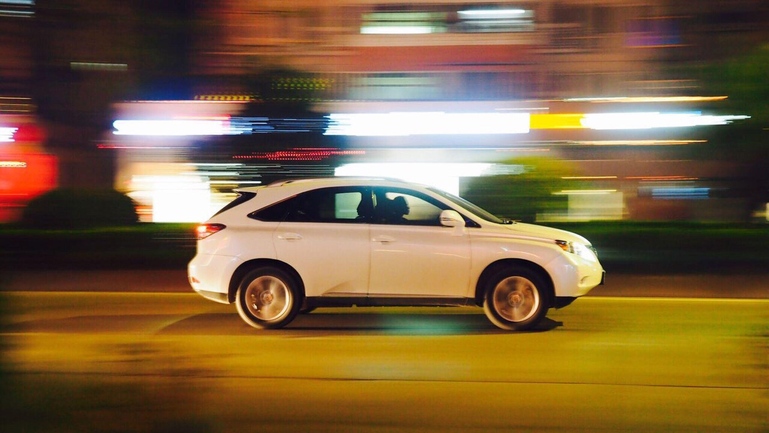 car, transportation, mode of transport, land vehicle, speed, illuminated, blurred motion, motion, night, no people, outdoors, racecar