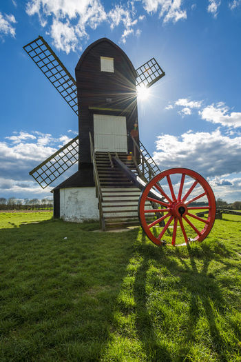 Pitstone windmill, Hertfordshire, UK Architecture Blade Built Structure Business Finance And Industry Day Grass History Nature No People Outdoors Pitstone Windmill Red White And Blue Sky Sunlight Wheels Windmill
