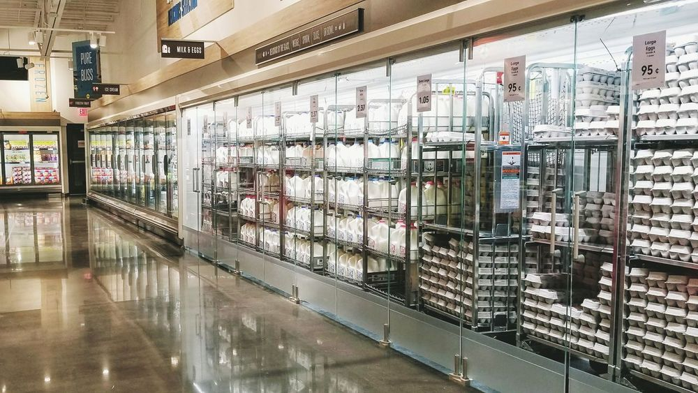 EyeEm Selects Store Business Finance And Industry Retail  Indoors  No People Supermarket Day Grocery Shopping Grocery Store Grocery Market Supermarket Market Refridgerator Refridgerated Milk Eggs... Perspectives Perspective Photography Isle