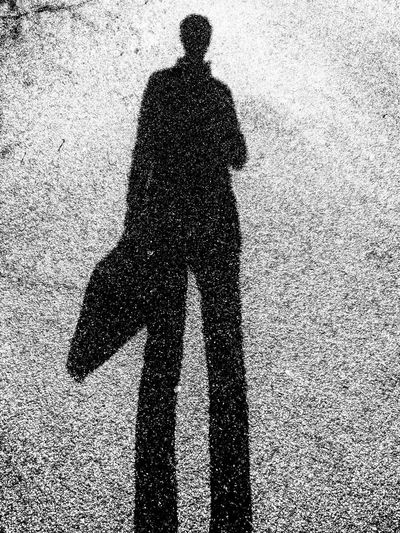 Businessman silhouette in black & white Hand Bag Black & White VSCO Blackandwhite Long Shadow - Shadow Textured  Male Likeness Unrecognizable Person Human Representation This Is Masculinity
