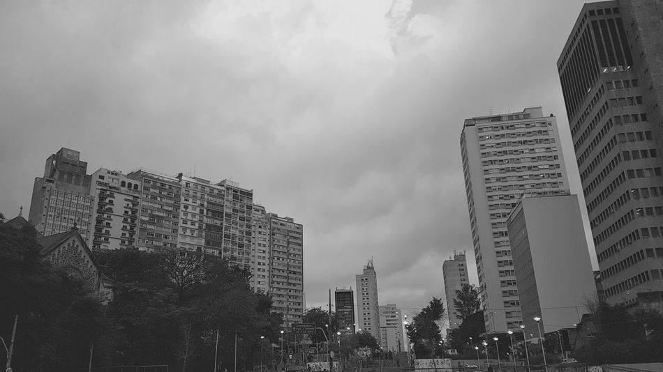 Skyscraper City Building Exterior Architecture Sky Low Angle View Cityscape Cloud - Sky Outdoors Built Structure Business Finance And Industry No People Modern Urban Skyline Day Downtown District 16:9 16x9 Black & White Blackandwhite City Life Mobile Editing