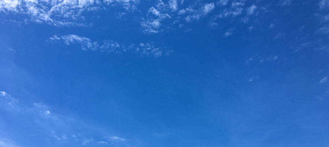 Blue sky Blue Sky Cloud - Sky Nature Backgrounds Cloudscape Low Angle View No People Scenics - Nature Beauty In Nature Outdoors Day Tranquility Environment Meteorology Panoramic Dramatic Sky Wind Clean Directly Below Wispy