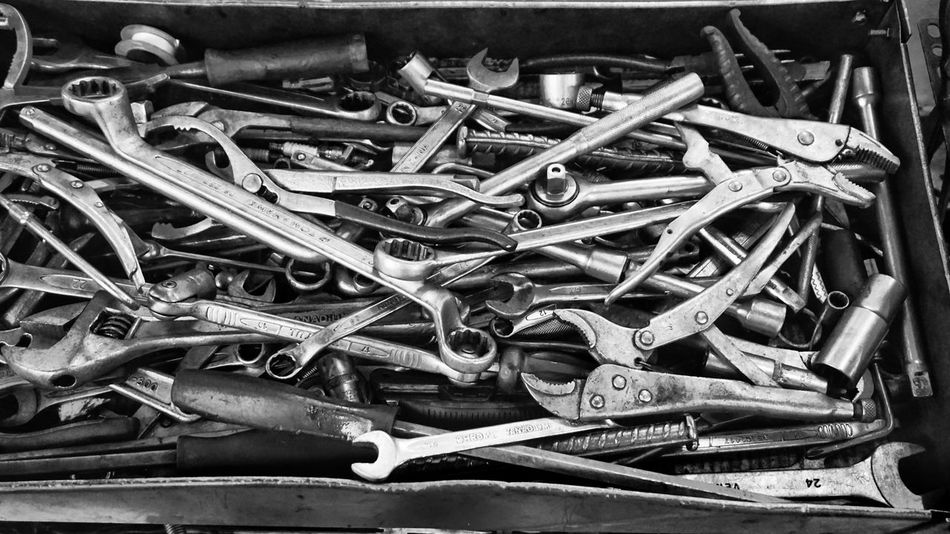 Tools in black and white. Large Group Of Objects Work Tool No People Close-up Indoors  Check This Out Black And White Foreman workshop Mechanic