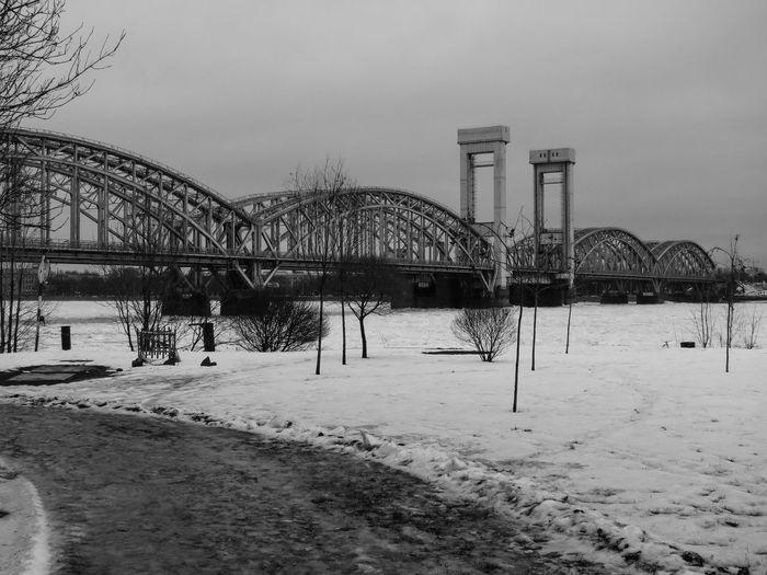 Finland Bridge Architecture Neva River Black And White