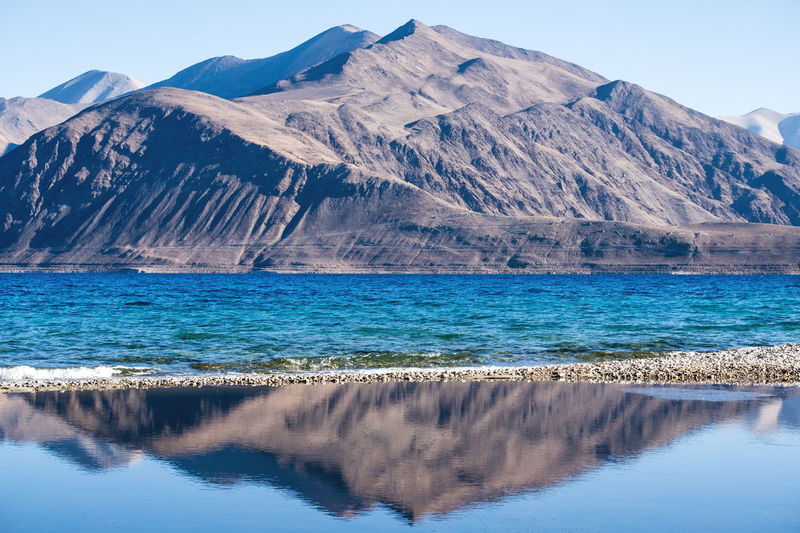 Lake and mountain view Lake View Mountain Reflection Water Beauty In Nature Scenics - Nature Tranquil Scene Tranquility Mountain Range Nature Idyllic Sky Non-urban Scene No People Day Waterfront Travel Environment Remote Outdoors Formation Mountain Peak Pangonglake Pangong