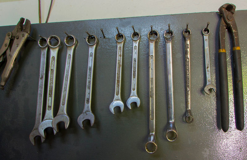 Various wrench hanging on metal in workshop
