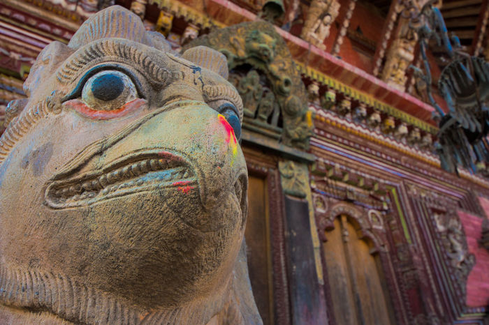 Nepal Stupa Travel Photography Animal Head  Colorful Holi Multi Colored Nepali Culture No People Powder Paint Religion Religious Architecture Sculpture Spirituality Statue Temple Travel Destinations Travelphotography