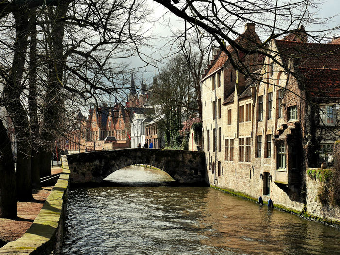 Architecture Bare Tree Belguim Bridge - Man Made Structure Brugge Building Exterior Built Structure City Connection Day Nature Outdoors River Sky Tree Water