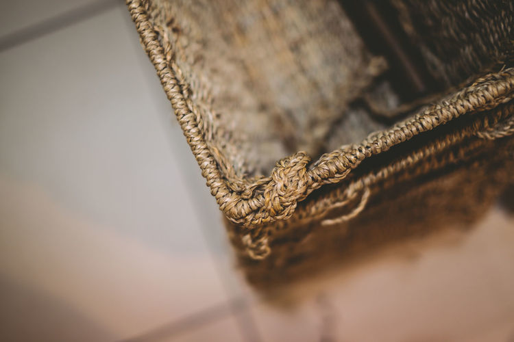 High angle view of empty wicker basket at home