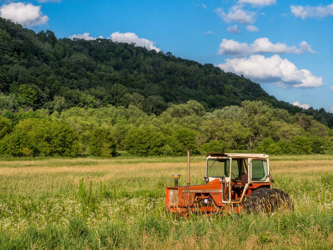 An old tractor sits in a field outside Red Wing, MN. Antique Beauty In Nature Blue Countryside Day Field Grass Grassy Green Idyllic Landscape Mountain Nature No People Non-urban Scene Plant Remote Rural Scene Scenics Sky Tractor Tranquil Scene Tranquility Tree Vintage