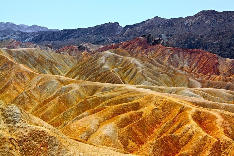 Death Valley somewhere near Ryan Death Valley Diagonal Dunes Hot Lines National Park Red USA Abstract Arid Climate Beauty In Nature Color Eroded Formation Geology Intense Landscape Mountain Outdoors Pattern Rocks Stone Structure Travel Yellow