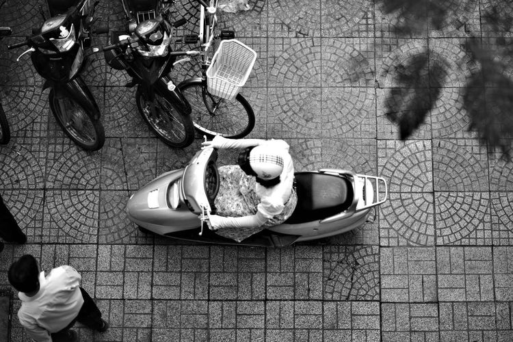 City Traffic High Angle View Ho Chi Minh City People From Above Street From Above Street Pavement Vietnam Woman On Motorcycle Women Black And White Friday