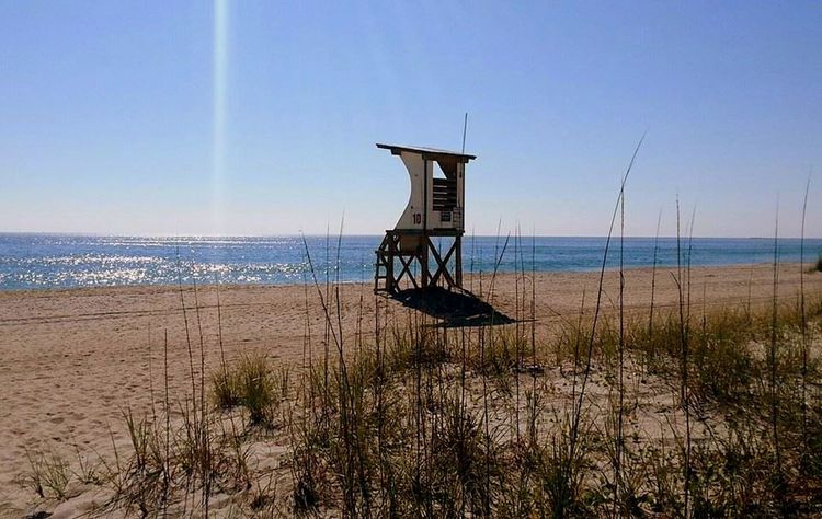 Beach Calm Deserted Dunes Life Guard Stand NC Ocean Pristine Sea Oats Summer Wrightsville Beach Landscapes With WhiteWall