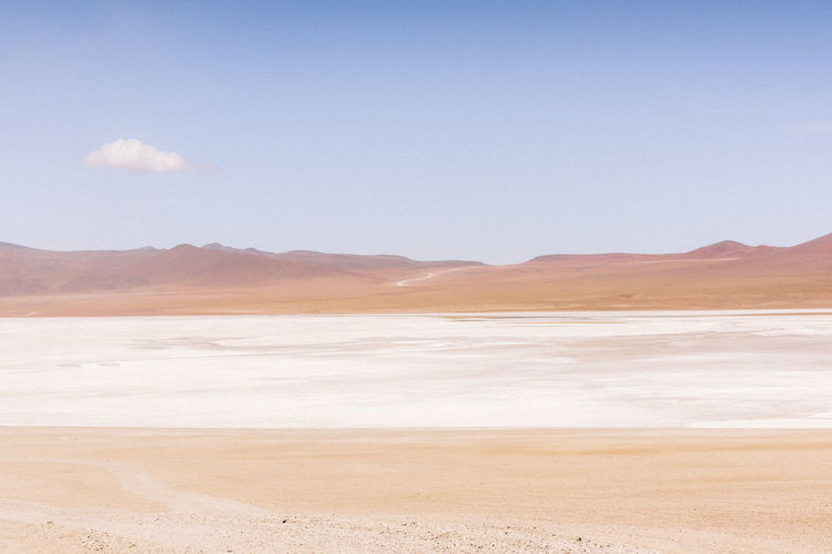 When you climb to over 3000 meters, the planet around you changes. The air becomes thin, vegetation is scarce, the landscapes are dressed in the finest pastel hues, escaped from abstract paintings. This is as close to another world as you get on our own. Bolivia Chile Fine Art Photography The Traveler - 2018 EyeEm Awards Travel Beauty In Nature Day Fine Art Landscape Landscape_photography Minimal Minimalism Nature No People Sky Tranquil Scene Tranquility