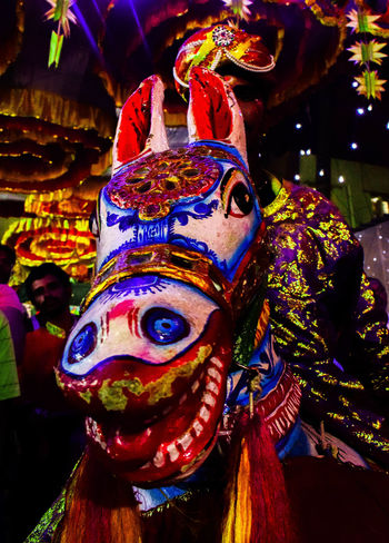 Art!!! Multi Colored Celebration Tradition Mask - Disguise Traditional Festival Culture Of India Traditional Culture Treditional Dance Indianphotography Travel India Travelphotography Treditional Culture Karnatakaisbeautiful Street Life Tredition Cultures Arts Culture And Entertainment Indian Street Photography Celebration Art Is Everywhere