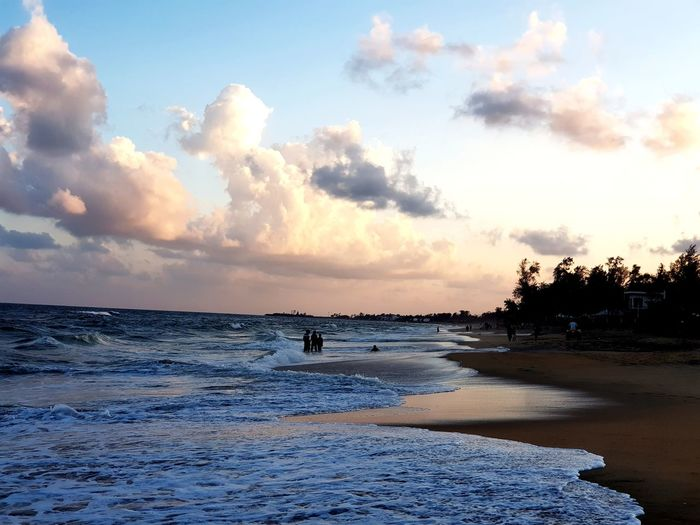 High tide at the beach Tamilnadu Travel Destinations Beach Beachlife Sea And Sky Sea Beach Cloud - Sky Sky Water Sunset Sand Landscape Tranquility Beauty In Nature Horizon Over Water Vacations Outdoors Travel Destinations
