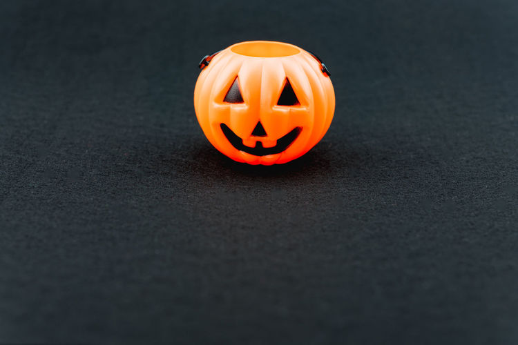 Jack o lantern on gray table