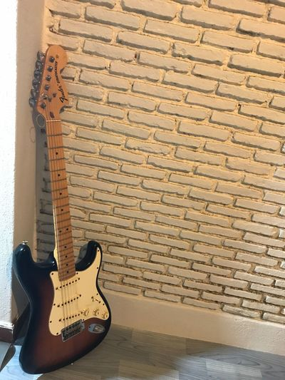 EyeEm Selects Guitar Fender Stratocaster Brick Wall Electric Guitar Music