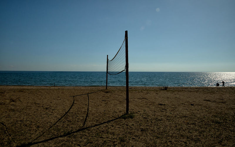 Winter Seascape Perspectives On Nature Turkey Anamur Beach Beach Volleyball Beauty In Nature Blue Clear Sky Horizon Over Water Light And Shadow Nature Net Net - Sports Equipment Outdoors Poles Sand Sandy Beach Scenics Sea Seascapes Sky Sport Sunbeam Tranquility Water
