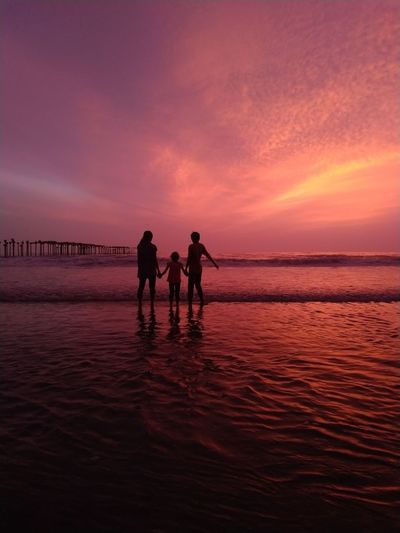sunset Water Sea Sunset Full Length Beach Silhouette Wave Red Horizon Reflection Low Tide Romantic Sky Atmospheric Mood