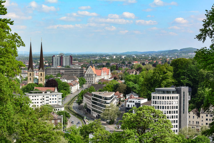 Bielefeld Architecture Bielefeldcity Building Building Exterior Built Structure City Cityscape Cloud - Sky Day Germany Green Color Growth High Angle View Nature No People Outdoors Plant Residential District Sky TOWNSCAPE Tree