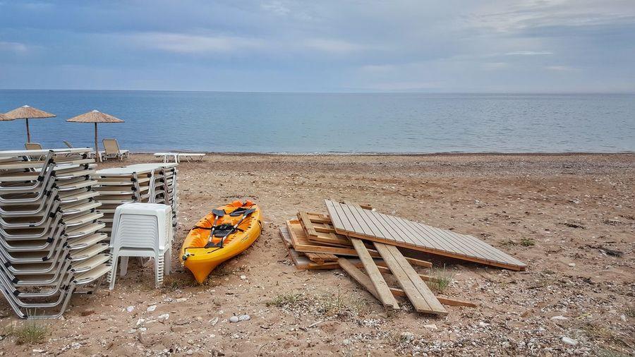 Boat Amidst Furniture At Komi Beach
