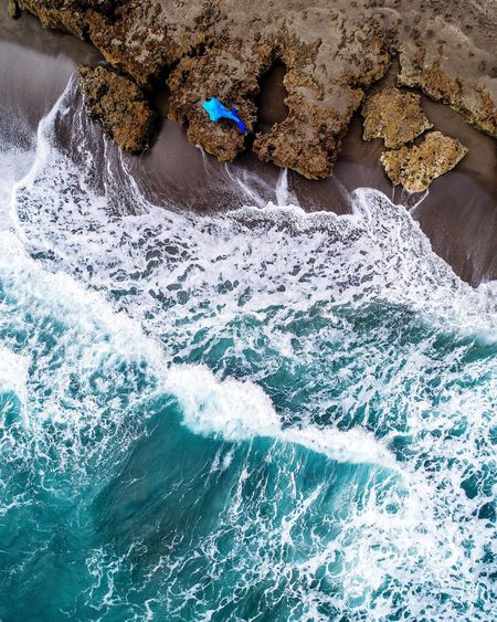 Day High Angle View Nature Water Lifestyles One Person Real People Sea Outdoors Blue Land Beach