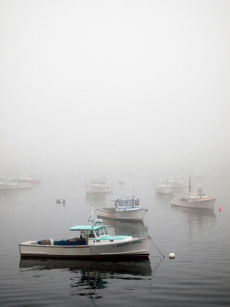 Lobster boats in Bass Harbor on a foggy morning Bass Harbor Lighthouse Bernard Allison Boat Fisherman Fog Harbor Lobster Maine Nautical Vessel No People Sea Water