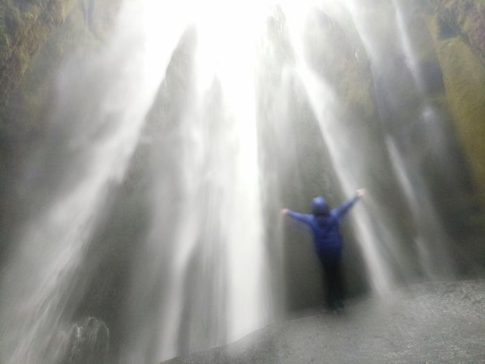 Arms Raised Motion Long Exposure Full Length One Person One Young Woman Only One Woman Only Outdoors Waterfall