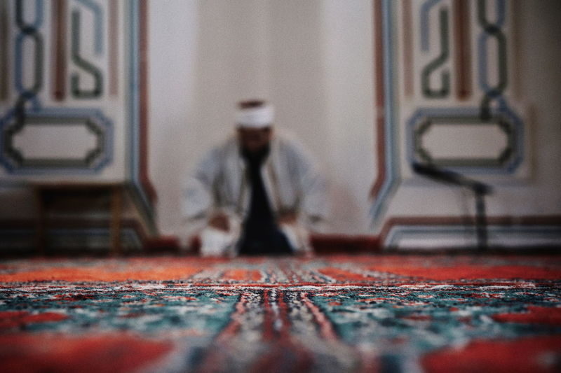 Religion Religious Architecture Religious Ceremony Mosque Praying Praying Mantis People One Person One Man Only Men Close-up Architecture Fabric Carpet Textile Embroidery 50 Ways Of Seeing: Gratitude