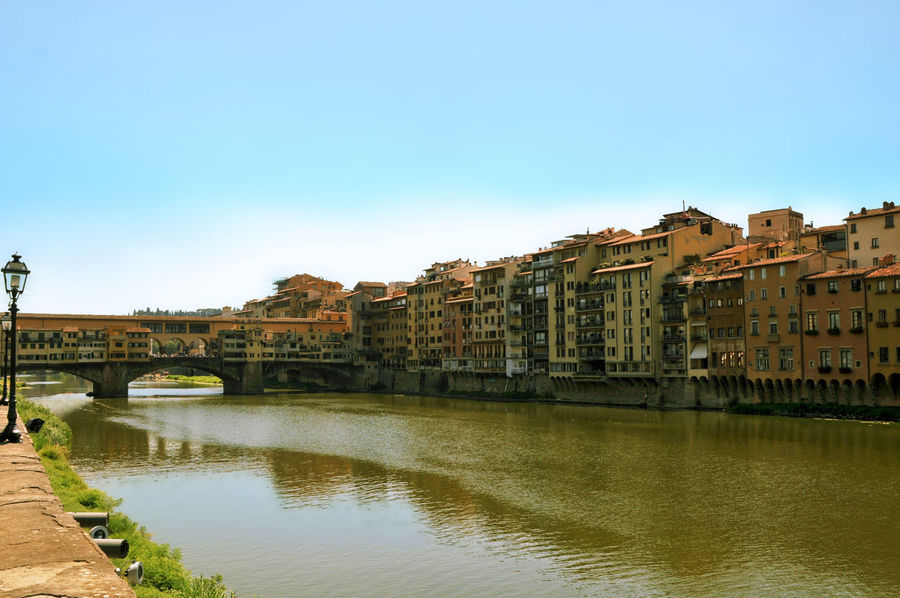 Florence Italy Ponte Vecchio - Firenze River Arno Tuscany Arch Architecture Bridge Built Structure City Cityscape Clear Sky River Water