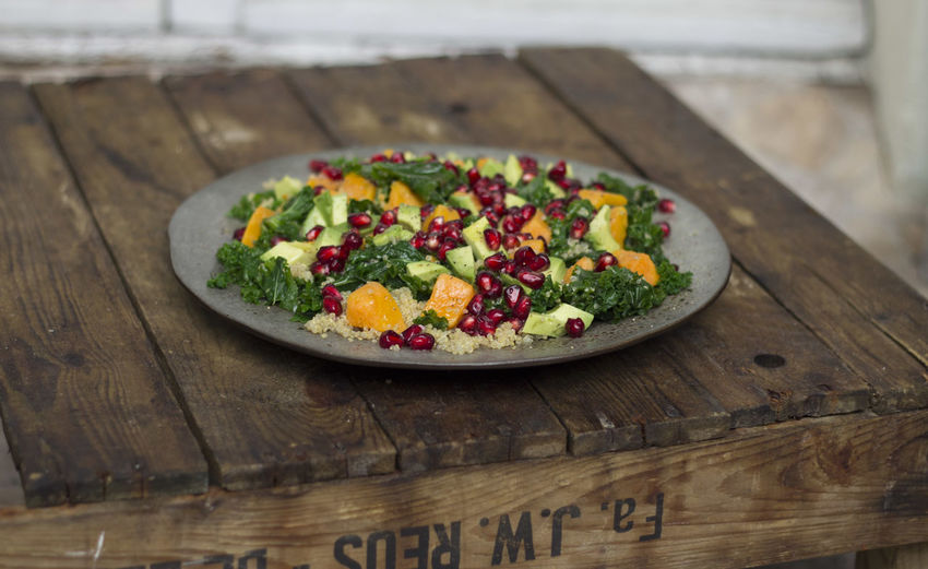 Kale, Avocado and Sweetpotatoe Salad Dish Food And Drink Salad Avocado Fall Food Foodphotography Healthy Healthy Eating Kale Plate Recipe Table Vegan Veggie